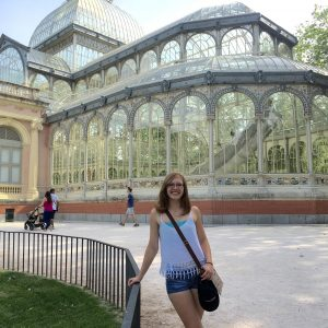 Cassidy in front of the Cristal Palace in Retiro Park in Madrid during her Euro tour.