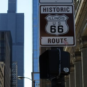 The beginning of Route 66 in Chicago.