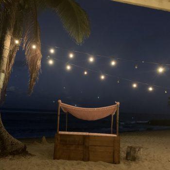 A photo of a nighttime beach