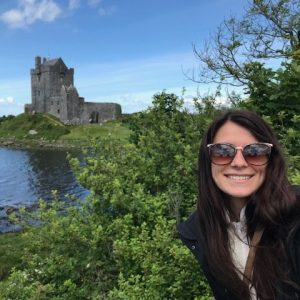 Sam in front of a Irish castle