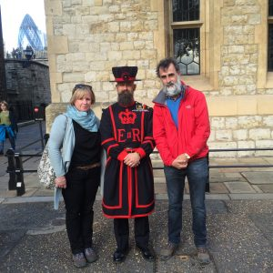 Jim, Sarah and a Beefeater in London, Britain