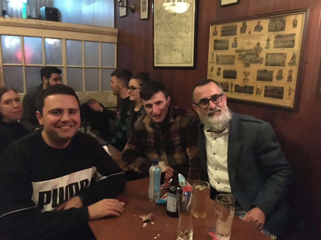 Jim Murty with his son in one of Ireland's many Irish bars