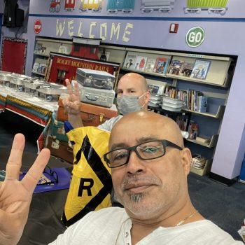 Jose taking a selfie at a welcome center.