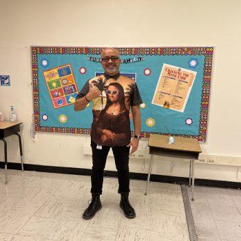 Jose ready to start teaching in Miami wearing a Mona Lisa shirt.