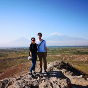 Lucy and Matt travelling as a couple in Khor Virap, Armenia.