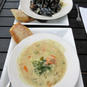 Seafood chowder and unbeatable mussels