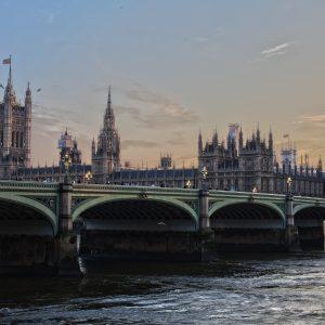 A bridge and Big Ben in London.
