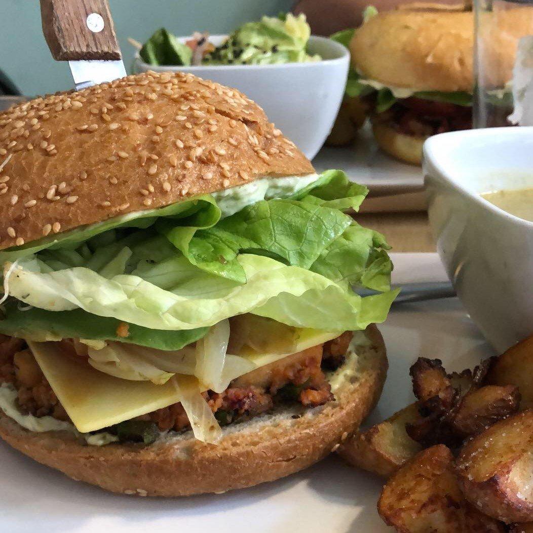 A vegan burger in Madrid