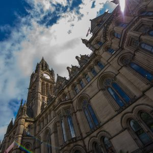 A view from below of a building in Manchester after Anna's relocation.