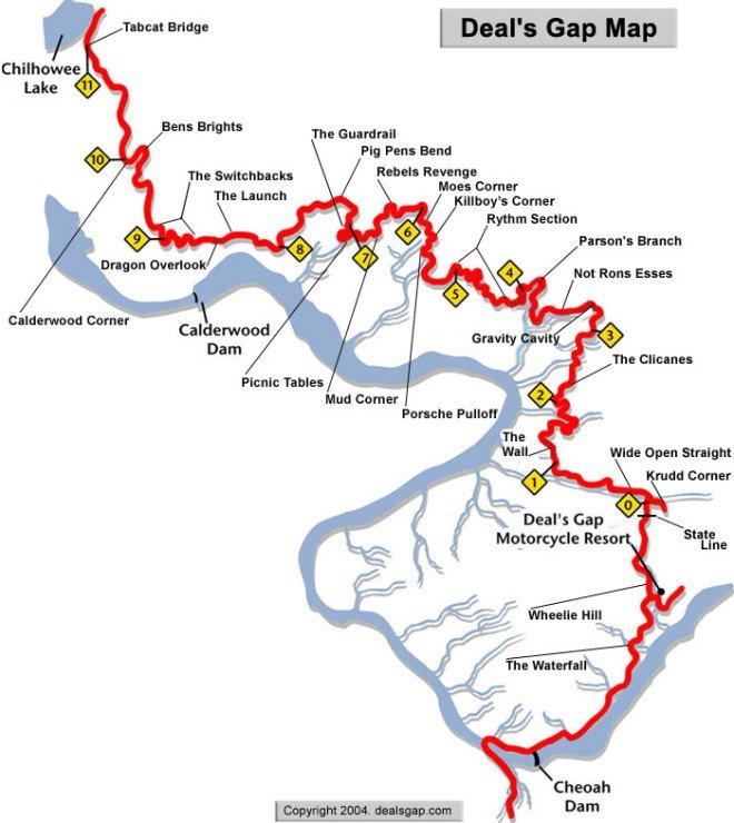 Map of the Tail of the Dragon in the Great Smokies