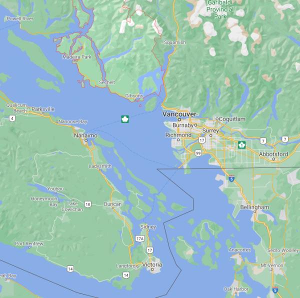 A map of Sunshine Coast BC