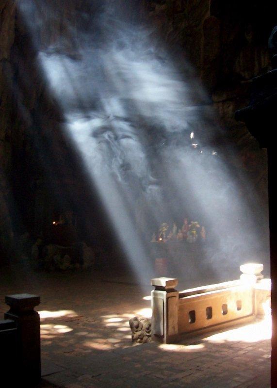 Light shining into Marble Mountain
