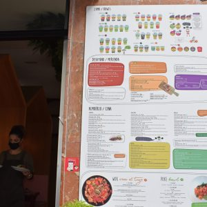 Mr. Kale's menu, a health-conscious restaurant for both vegans and non-vegans alike