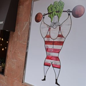 Mr. Kale's mural of a body builder with Kale hair.