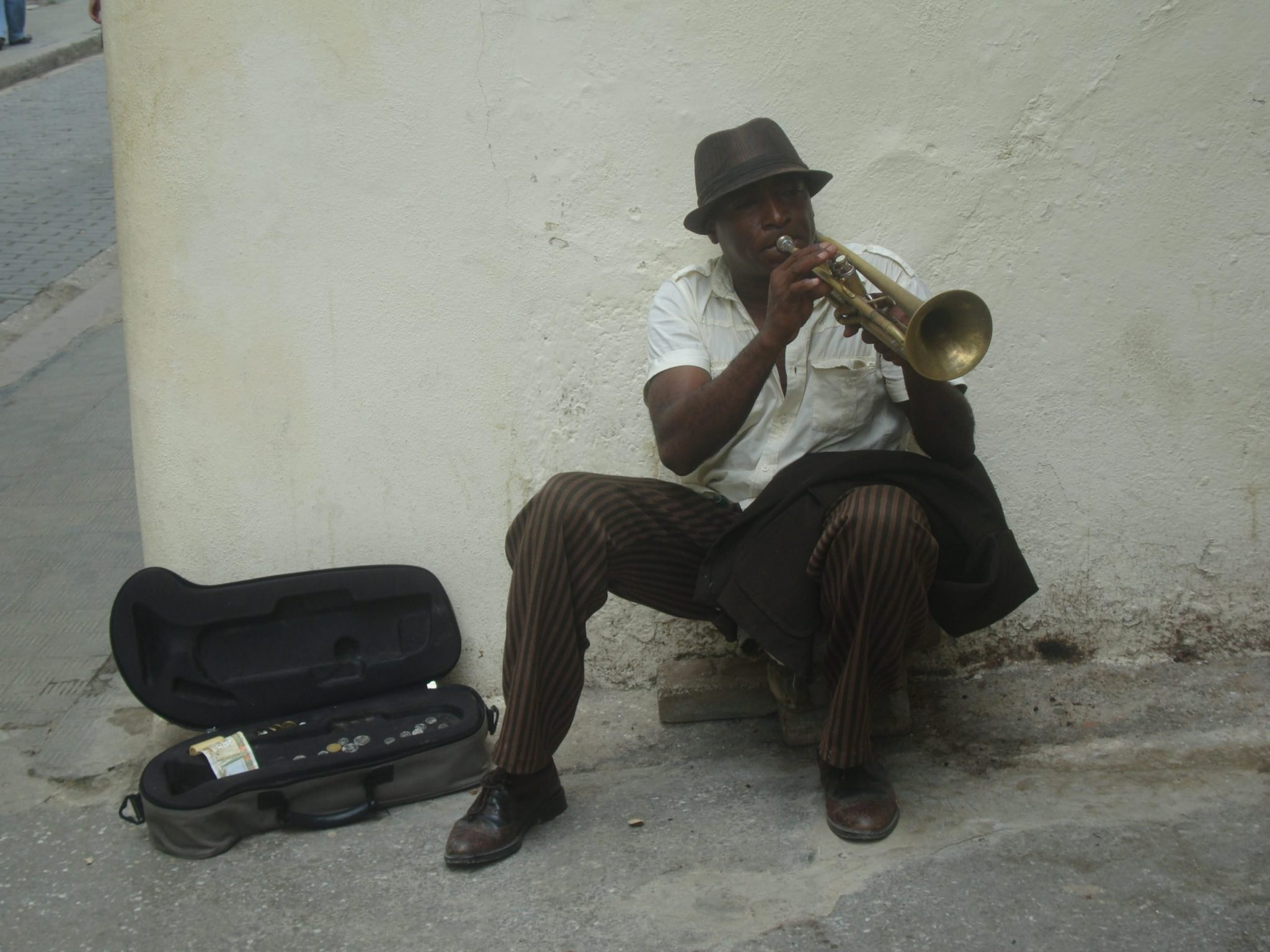 A photo of a street musician