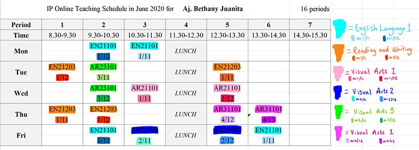 My online teaching schedule COVID-19 Pandemic