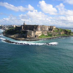 The view of a fort from the ocean in Puerto Rico.