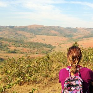 Rachel looking over the landscape in Swaziland during her time volunteering with the Peace Corps