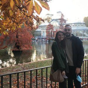 Sam and her partner at Retiro Park in Madrid