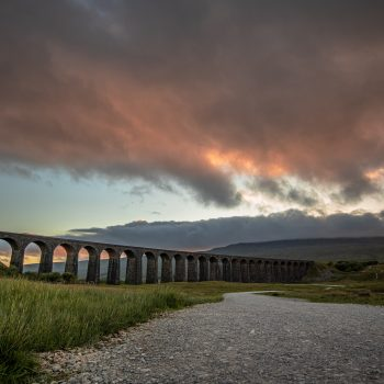 The Ribblehead Viaduct during dusk.