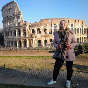 Kristen in front of the Colosseum in Rome