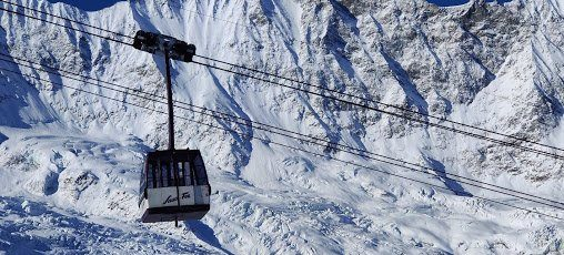 One of Saas-Fee's ski lifts, which Adam frequented while skiing in Switzerland.