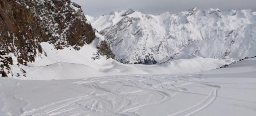 Ski tracks in the snow at Saas-Fee