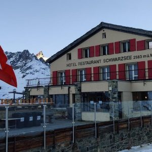 Adam's favorite place to stay while skiing in Switzerland, the Schwarzsee Hotel.