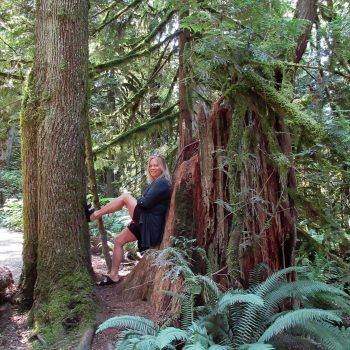 Ed's wife, Cathryn, surrounded by ancient and massive trees