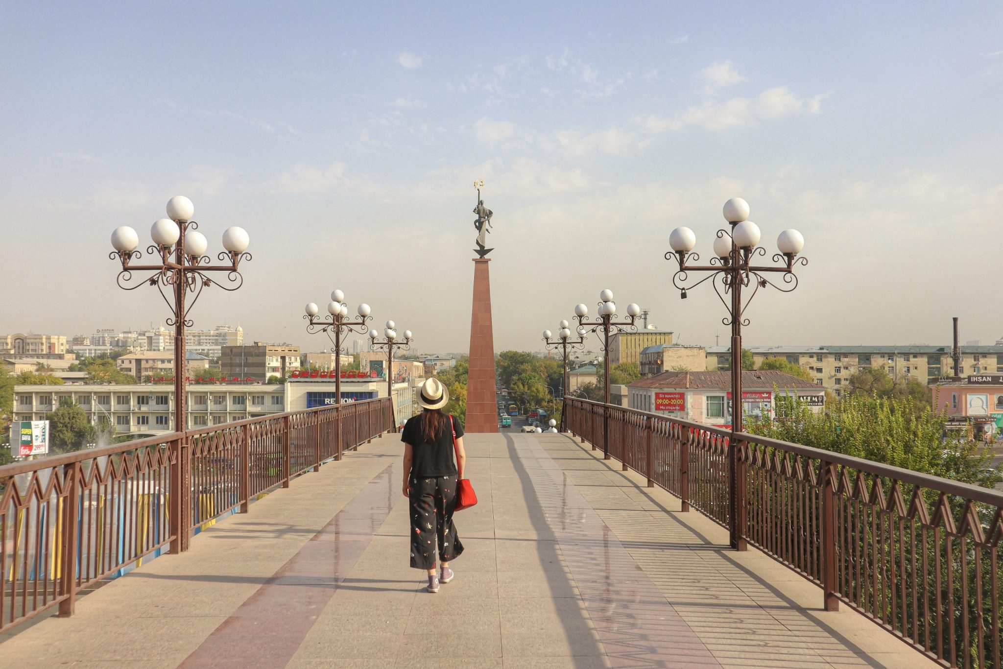 Lucy at Shymkent, Kazakhstan, whilst travelling as a couple with Matt