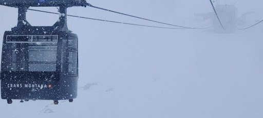 A snowy day while skiing in Switzerland.