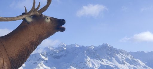 The St. Moritz statue, which is a large deer looking up to the sky.