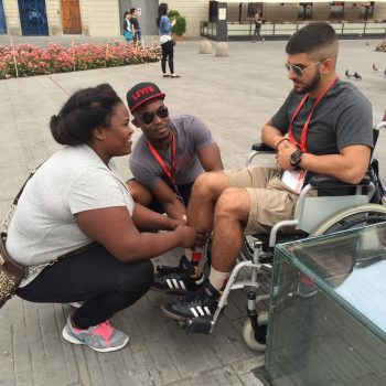 Students from Dr. McKenney's course learning about what it's like studying abroad with disabilities