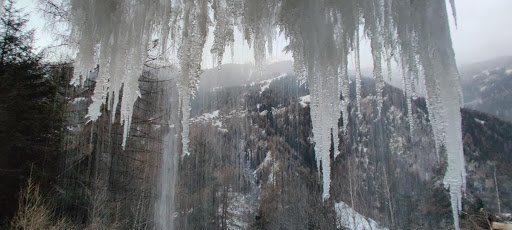A frozen waterfall Adam found while skiing in Switzerland.