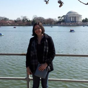 Sarah at the Jefferson Memorial while applying for her visa in Spain