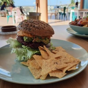 Tierra's take on a vegan burger, with a side of chips