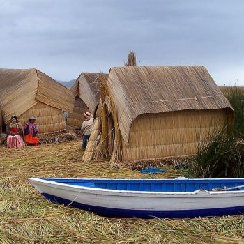 An Uros floating island on Lake Titicaca.