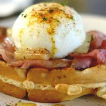 A waffle with ham and butter from Waffle Era, one of the best places to eat in San Juan