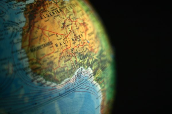 West Africa on a globe