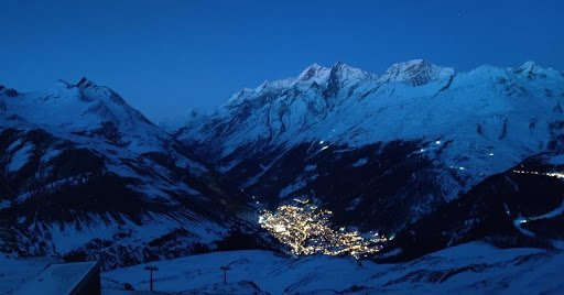 A view of Zermatt at night from the Schwarzsee Hotel.