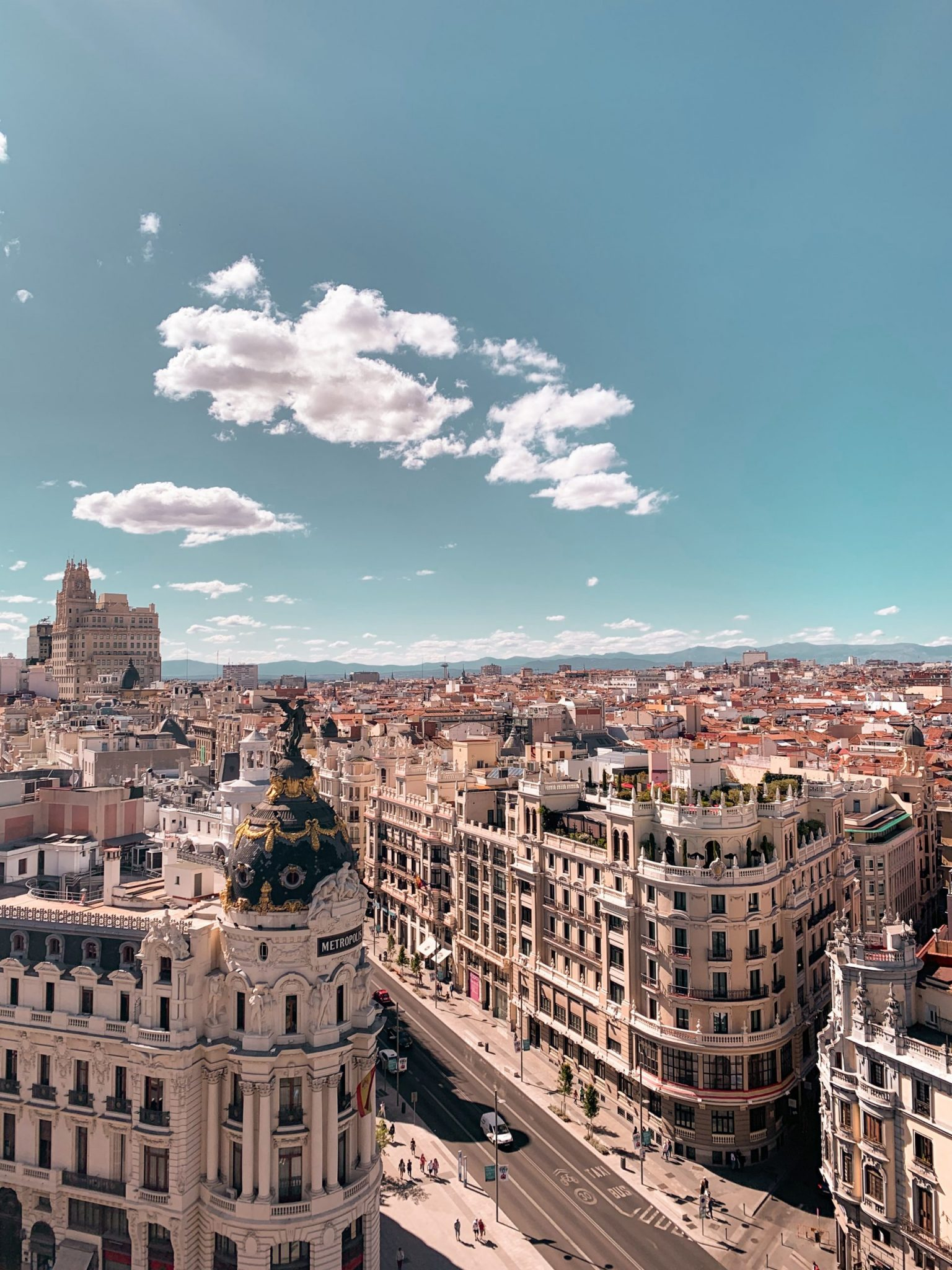 A photo of Madrid, Spain from the rooftops, which is the city Timisha moved to Spain to.