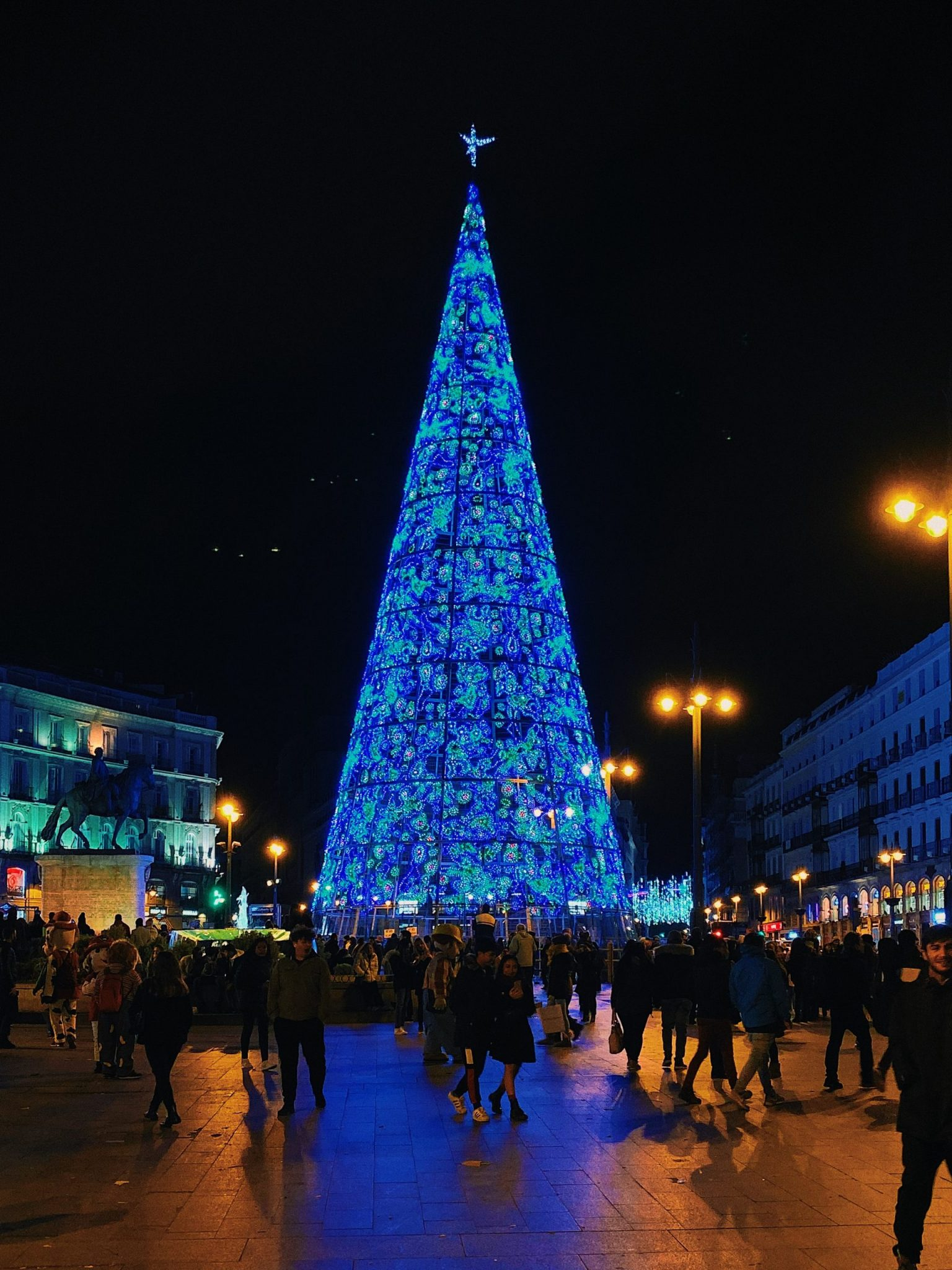 The Christmas Tree at Puerta del Sol, in Madrid Spain, a beautiful part of celebrating holidays abroad