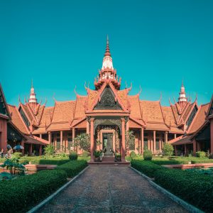 A large, traditional building in Cambodia