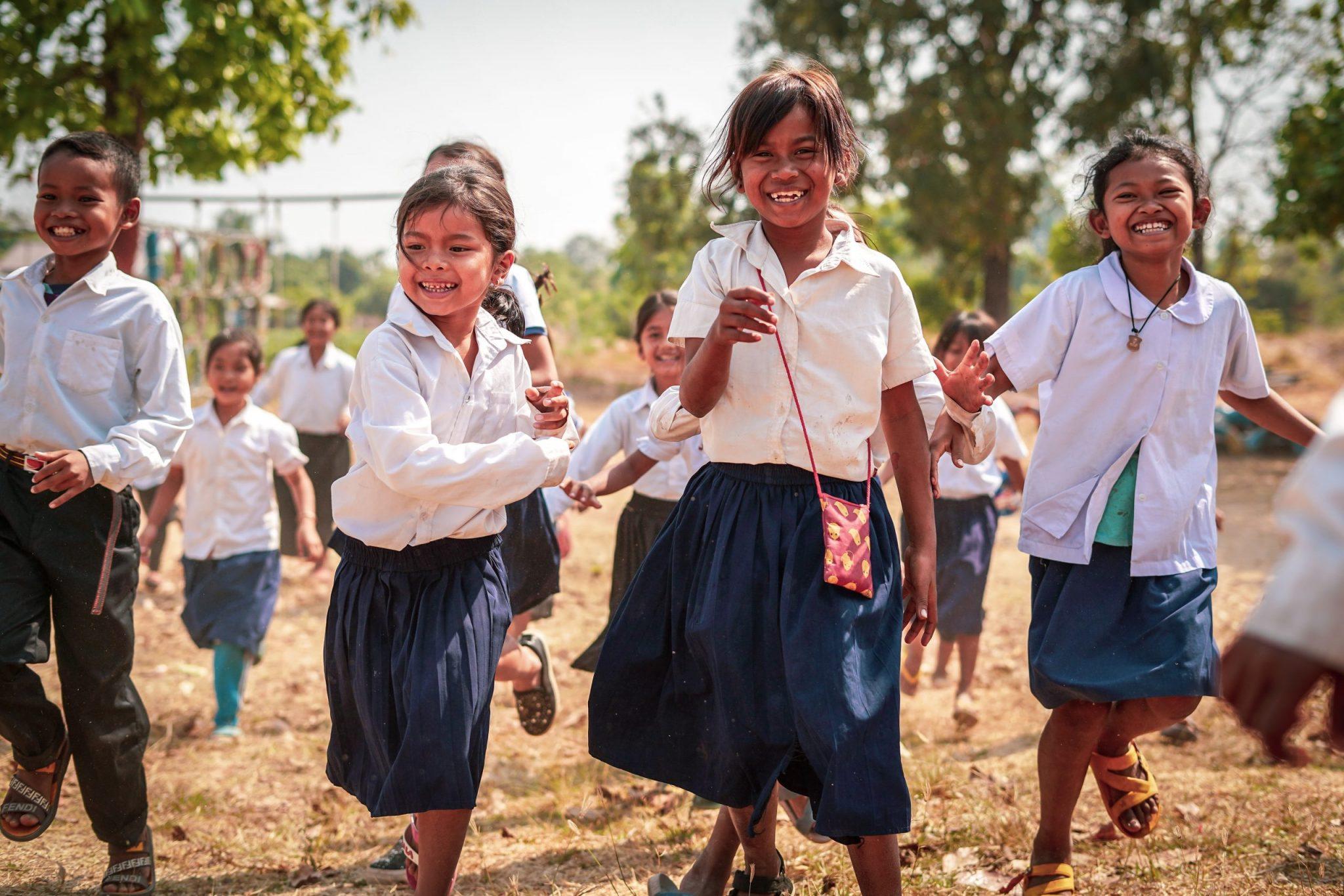 Cambodian schoolchildren.