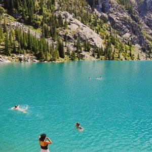 Diving into the vivid blues of Colchuck Lake, Washington