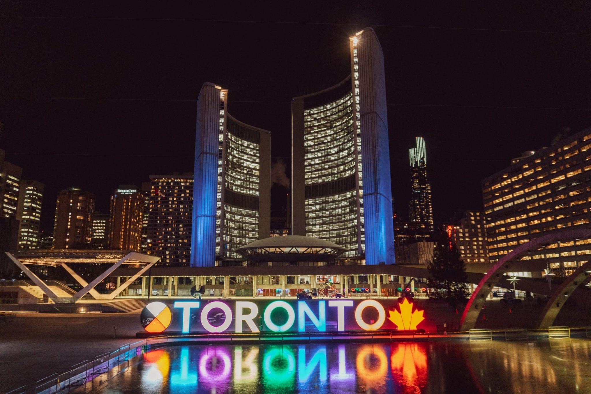 A nighttime photo of Toronto