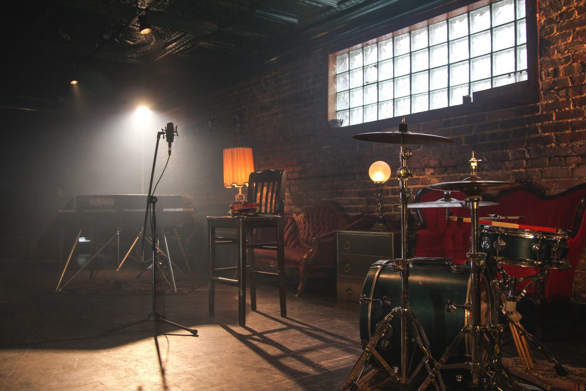 A stage music set