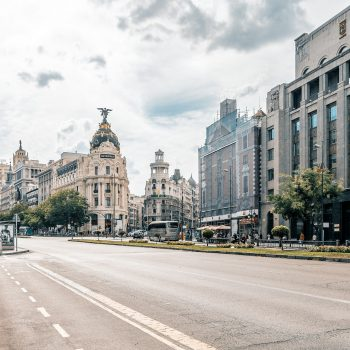 Streetscape of Madrid's metropolis