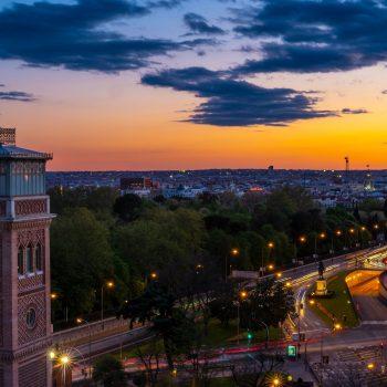 The sun sets on Madrid