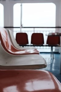 Plastic seats in a waiting area.